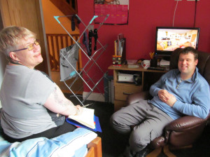 Carron visits a customer at home